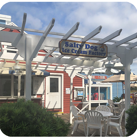 Salty Dog icecream sign and outdoor seating.