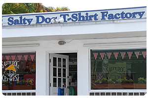 Salty Dog t- shirt factory Key West sign.