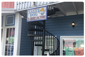 Salty Dog t- shirt factory South Beach sign.